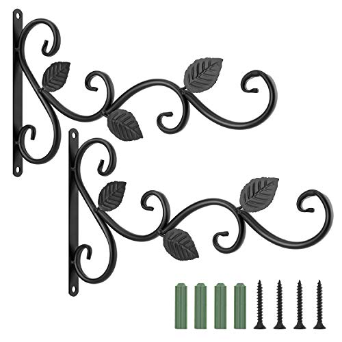 Lewondr Haken für Blumenampel, 2 Stück Retro Aluminiumlegierung Wandhaken Aufhänger Halterung mit Schrauben für Blumentöpfe Pflanzen Laternen, Garten Balkon Zaun Außen Deko - Blatt, Schwarz