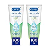 Durex Naturals Lubricante a Base de Agua, 100% Natural sin Fragancia, Colorantes ni Agentes Irritantes – 2 x 100 ml