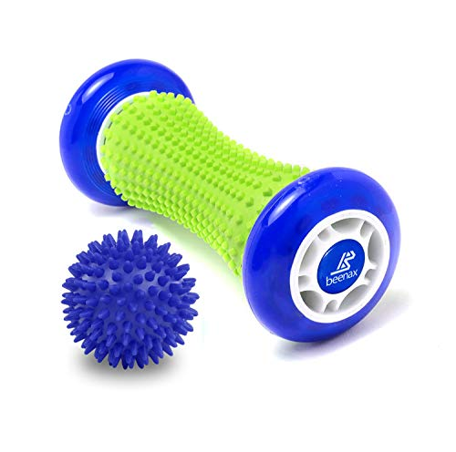 Beenax Foot Massage Roller and Hard Spiky Ball Set - Perfect For Plantar...