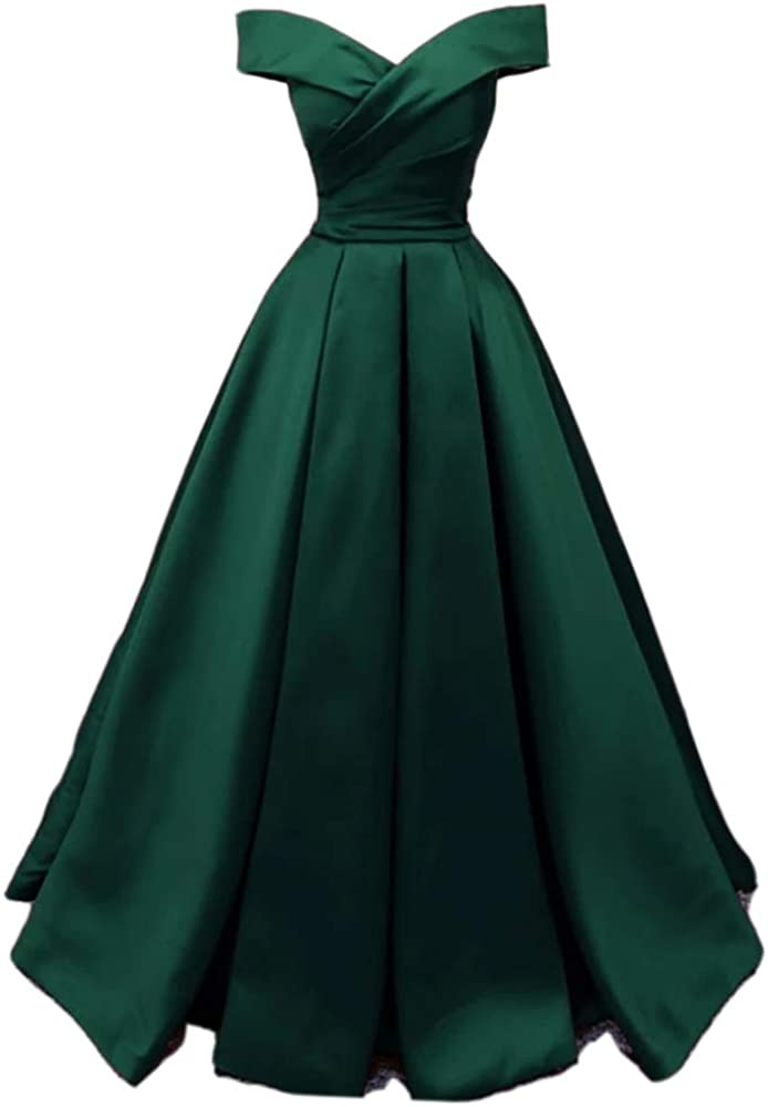 womenbride Women's Satin Off Shoulder Prom Dresses A-line Ruched Long Formal Evening Party Gowns
