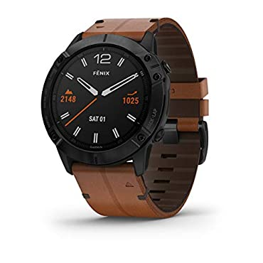 Garmin fenix 6X Pro Sapphire Multisport Smartwatch (Black DLC/Chestnut Leather)