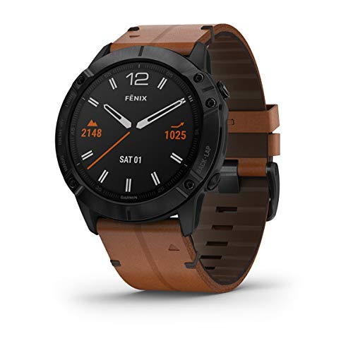 Garmin Fenix 6X Sapphire, Premium Multisport GPS Watch, Features Mapping, Music, Grade-Adjusted Pace Guidance and Pulse Ox Sensors, Black with Brown Leather Band