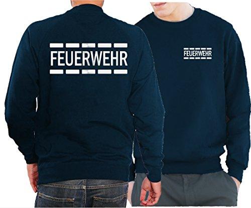 Feuer1 Sweat-shirt de police avec motif de pompiers Argenté réfléchissant L bleu marine