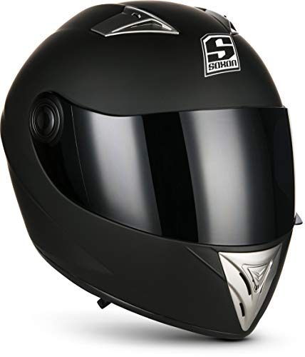 SOXON ST-550 Fighter · Integral-Helm Scooter-Helm Urban Motorrad-Helm Roller-Helm Cruiser Sport Helmet Sturz-Helm · ECE zertifiziert · inkl. Sonnenvisier · inkl. Stofftragetasche · Schwarz · XS (53-54cm)