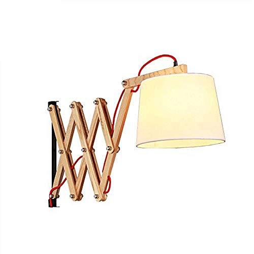 FEE-ZC Lámpara de Pared de Madera Maciza Telescópica de Brazo Largo Lámpara de Pared de Noche Plegable Creativa con Interruptor y Cable de alimentación Lámpara de Lectura Pantal