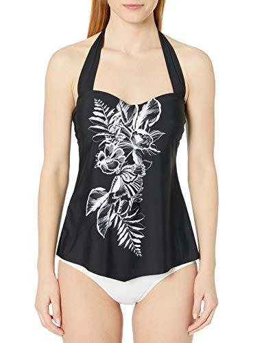 24th & Ocean Women's Retro Bandeau Handkerchief Tankini Swimsuit Top, Black//Conga Beat, M