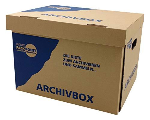 """10 Stk. Archivbox 400x320x290mm, extrem stabil, bis 250kg stapelbar / Ausführung: Braun mit Beschriftung """"Archivbox"""" - 2"""