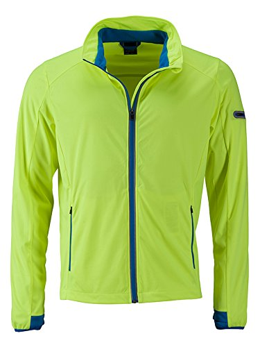 JAMES & NICHOLSON Men's Sports Softshell Jacket, Jaune (Bright-Yellow/Bright-Blue Bright-Yellow/Bright-Blue), XXXL Homme