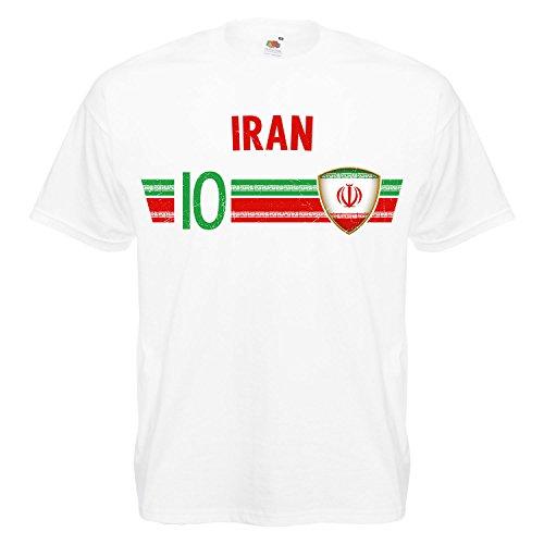 Fußball WM T-Shirt Fan Artikel Nummer 10 - Weltmeisterschaft 2018 - Länder Trikot Jersey Herren Damen Kinder Iran L
