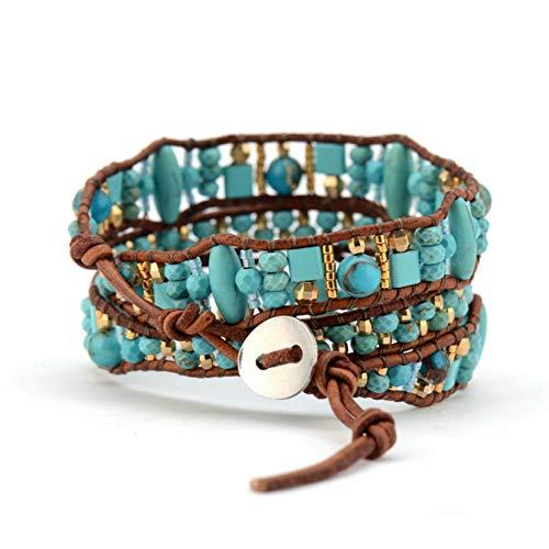 WHFDRHSZ armband vorm steen zaad kralen wikkel armband modieuze vintage kralen manchet armband