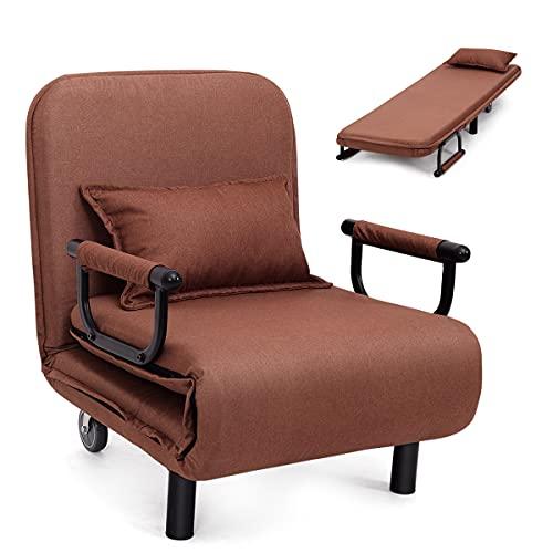 RELAX4LIFE Klappbarer Schlafsessel 3 in 1, Klappsessel aus Polyester, waschbar, Schlafsofa mit 2 Rädern & verstellbarer Rückenlehne, Gästebett Schlaffunktion, inkl. Kissen, bis 150kg belastbar (Braun)