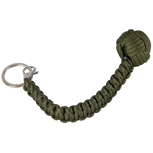 Paracord Security Bracelet Self-Protection Round Survival Cord Bracelets, Fashion Multitool Key Ring Self Defense Ball Keychain for Men Women(Green)