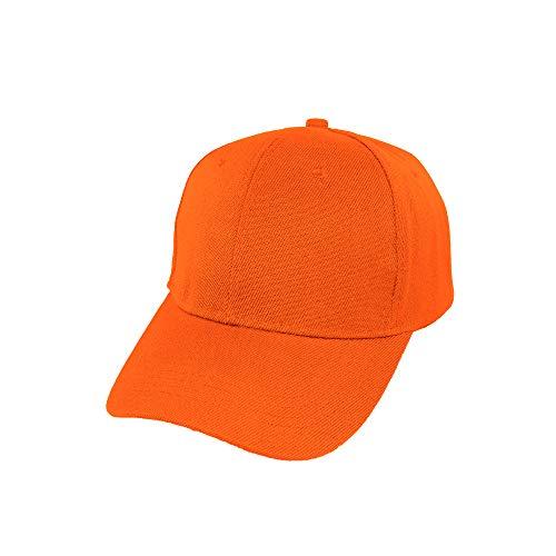Baseballmütze, verstellbar, klassisch, sportlich, einfarbig, weich und atmungsaktiv, Unisex, für Erwachsene und Kinder, Modell JDH-1, Orange 58 cm