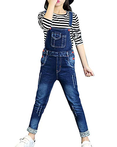 Kinder Mädchen Jeans Latzhose Denim Freizeithosen Jumpsuit Lang Overall Mit Hosenträger Blau 140CM