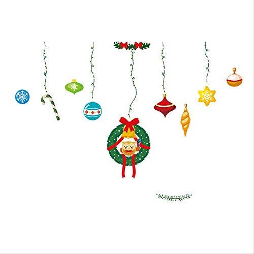 KEKEYANG Seis Piezas: Escena de Navidad Decoración decoración de Cristal de Ventana Etiqueta Bola de Navidad Colgando de ratán Pegatinas de Pared Murales