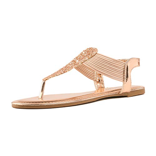 DREAM PAIRS Spparkly Women's Elastic Strappy String Thong Ankle Strap Summer Gladiator Sandals Champagne Gold Size 11