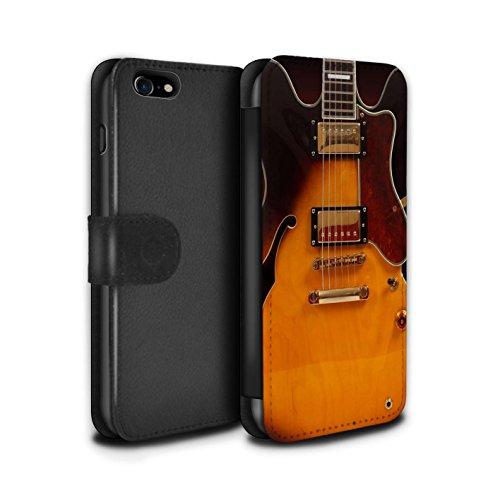 Telefoonhoesje Portemonnee voor Apple iPhone SE 2020 Gitaar Semi Akoestisch Ontwerp Flip Faux PU Lederen Cover Magnetische Sluiting Card Slots