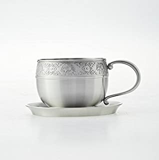 Pewter Cup Cold Pewter Mug Small Pewter Tea Cup Four Season Motif Pewter Cup