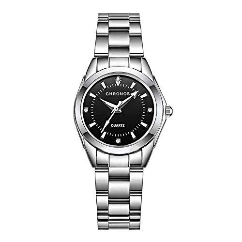 Mujer Relojes, L'ananas Clásico Elegante Diamante de imitación Acero Inoxidable Correa de Reloj Cuarzo Relojes de Pulsera Women Watches Wristwatches (Plata+Negro)
