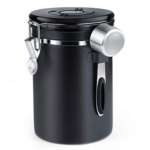 ZWOOS Kaffeedose Luftdicht - Kaffeebohnen Behälter aus Edelstahl mit CO2-Ventil - mit Messlöffel - 1,8 L (Schwarz)
