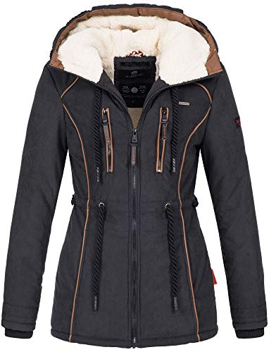 Marikoo Damen Winter Jacke warme Winterjacke Parka Mantel Teddyfell B610 [B610-Mai-Schwarz-Gr.XS]