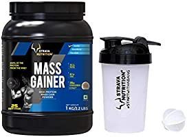 Strava Nutrition Mass Gainer with Whey protein, Ashwagandha extract and digestive enzymes (Vanilla Flavour) 1kg / 2.2...