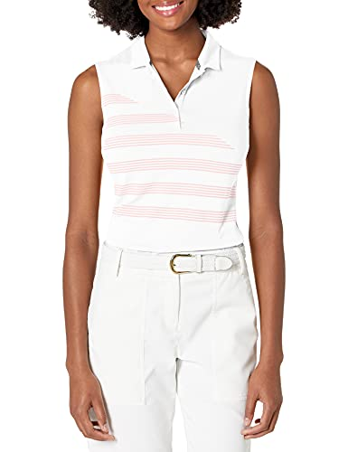 Puma Golf 2019 Women's Step Stripe Sleeveless Polo, BRIGHT WHITE, x Small
