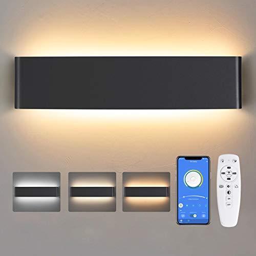 Wandleuchte Innen LED, 24W Dimmbare Moderne Smart Wandleuchte mit Fernbedienung Kaltes Weiß/Warmes Licht/Neutrales Licht 40CM Innen Wandbeleuchtung für Wohnzimmer Schlafzimmer Flur 2700K-6500K