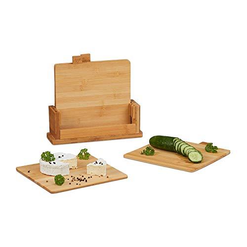 Relaxdays 10022158 Planche à Découper Set de 4 Bambou Support Cuisine Plat de Service Bois Naturel Ménage les Couteaux Nature, Standard