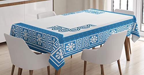 ABAKUHAUS Griekse Key Tafelkleed, Vintage Bloemen Fret, Eetkamer Keuken Rechthoekige tafelkleed, 140 x 200 cm, Blauw Wit