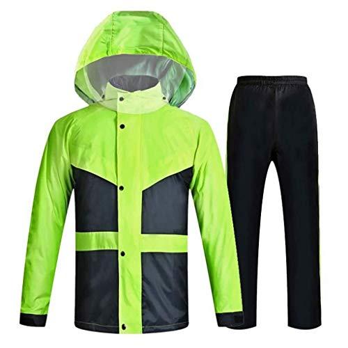 YDS Shop Regenjas/regenbroek voor heren, ademend/zwaar waterdicht/afneembare muts voor het paardrijden in de open lucht, wandelen en vrije tijd Small Fluorescent Green