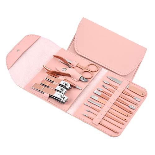 KESYOO Set de Manucure Coupe-Ongles Set Kit de Pédicure Professionnel en Acier Inoxydable 16Pcs