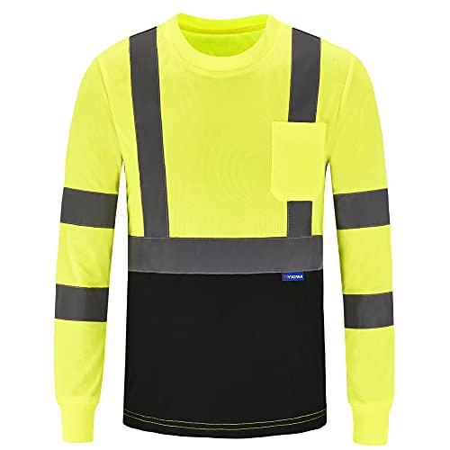 AYKRM High Visibility Shirts Safety T Shirt Reflective High Visibility hi vis Long Sleeve T Shirt (Yellow, XL)