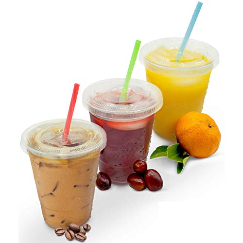 [50 Sets - 16 oz. With Flat Lids] PREMIUM Clear Plastic Disposable Cups - Ice Coffee Tea Juice Smoothie Milkshake Cup | For Iced, Cold, Frozen or Room Temperature Beverages