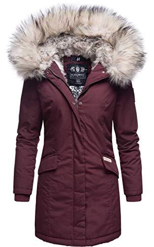 Navahoo Damen Winter Jacke Parka Mantel Winterjacke warm Kunstfell Premium B669 [B669-Christa-Weinrot-Gr.XXL]
