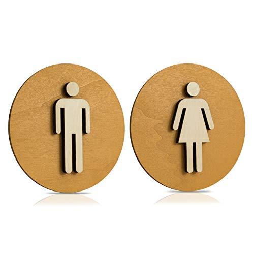 Cartel Madera de WC, Cartel para puerta, Cartel mujer, hombre, discapacitados, color nogal claro, madera, Damen+Herren, Ø 18cm