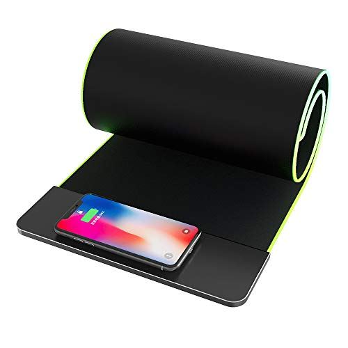 RGB Gaming Mouse Pad Wireless Charger Wmythk Qi Fast Charging Extended Mouse Mat for iPhone 8/X/XR/XS/11/11Pro, Wireless Charger + Extra Large Keyboard Mouse Pad Compatible for Qi-Enabled Devices