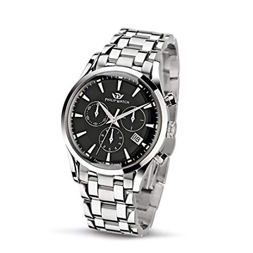 Philip Watch Orologio da uomo, Collezione Sunray, movimento al quarzo, cronografo, in acciaio - R8273908165