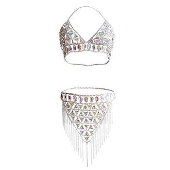 MineSign Crystal Body Chain Women Waist Vest Harness Shoulder Jewelry Kit for Party Bikini  Silver