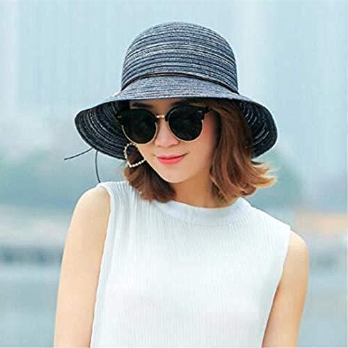Gorra de Mujer para Mujer, Medio Flojo, Verano, Playa, Sol, Sombrero de Paja con Flor Rosa-Gris Iteration