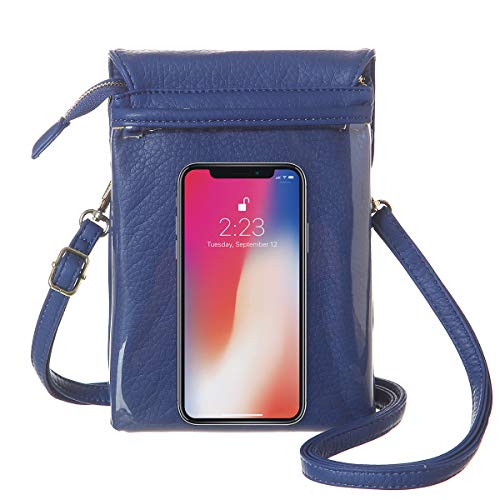 MINICAT Roomy Pockets Series Small Crossbody Bags Cell Phone Purse Wallet for Women(Touch Screen-Blue)