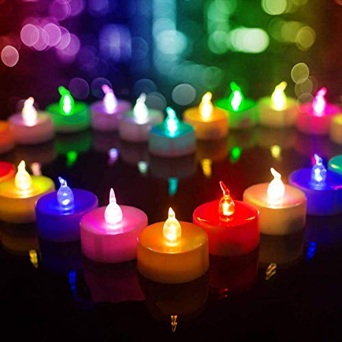 Beichi Color Changing LED Tea Lights Bulk, 24 Pcs Flameless Tealight Candles with Colorful Lights, Battery Operated Colored Fake Candles, No Flickering Light, [White Base]