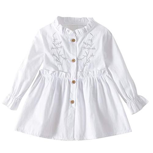 LANSKIRT Ropa Bebe Niña Otoño Invierno Vestidos de Princesa de Lunares con Lazo de Manga Larga para Niños Vestido Plisado de Vestir