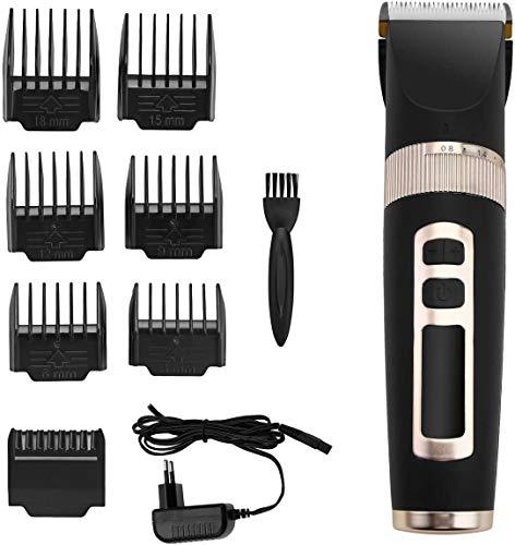 Powerextra Regolabarba Uomo - Batteria Ricaricabile per Display a LED per Taglio Facciale e Naso a Batteria - Taglia Barba e Tagliacapelli 7 Accessori