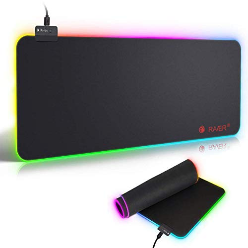 Tappetino Mouse Gaming, RGB Grande Mouse Pad 10 Effetti Luce XXL 800x300mm Superficie Liscio, Base in Gomma Antiscivolo Tappetino per mouse per Computer, PC e Laptop