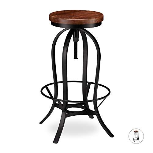 Relaxdays barkruk industrieel, barkruk draaibaar, hoge vintage kruk, in hoogte verstelbaar tot 76,5 cm, zwart/bruin