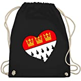 Shirtracer Karneval & Fasching - Köln Wappen Herz - Unisize - Schwarz - turnbeutel köln - WM110 - Turnbeutel und Stoffbeutel aus Baumwolle