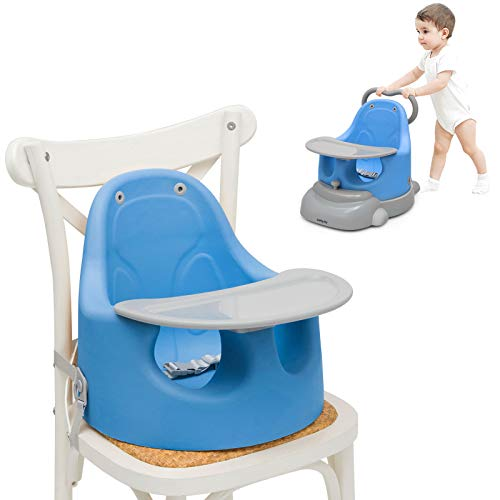 Baby Joy 6-in-1 Booster Seat for Dining Table, Sit to Stand Walker for Toddler, Infant Feeding Chair Baby Floor Seat with Removable Tray, 3-Point Harness & Safety Straps (Blue)