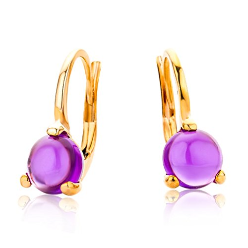 Miore Ladies 9 ct Rose Gold Amethyst 3 Prong Earrings