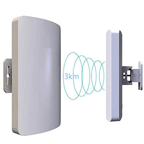 EJOYDUTY Drahtlose Außen-AP/Client-Bridge/CPE mit 5,8 und 2 GHz, 300 Mbit/s Übertragungsgeschwindigkeit, Richtantenne, große Reichweite, Punkt-zu-Punkt, IP65, 23 dBm, 11 dBi